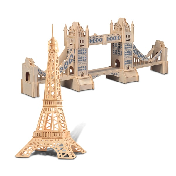 Puzzled Inc. Eiffel and Tower Bridge Wooden 3D Construction Kit
