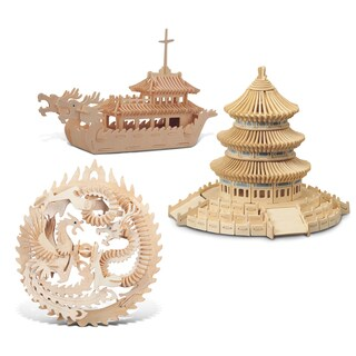 Puzzled Lucky Dragon and Phoenix, Dragon Boat and Temple of Heaven Wooden 3D Puzzle Construction Kit