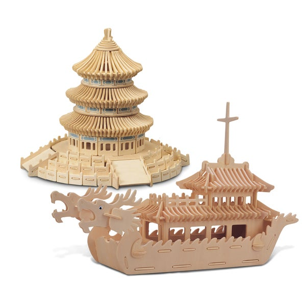 Puzzled Dragon Boat and Temple of Heaven Wooden 3D Puzzle Construction Kit