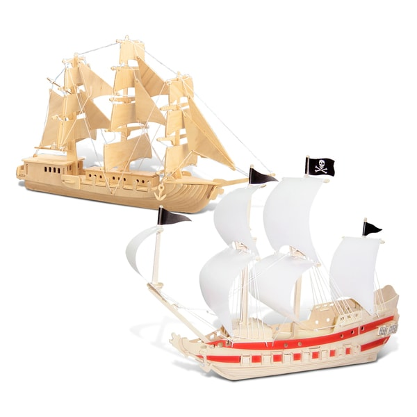 Puzzled European Sailing Boat and Pirate Ship Wooden 3D Puzzle Construction Kit