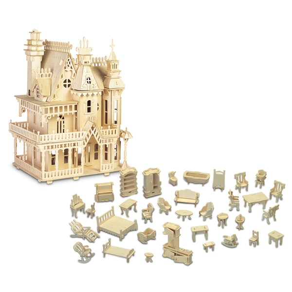 Puzzled Fantasy Villa and Furniture Wooden 3D Puzzle Construction Kit