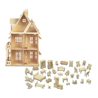 Puzzled Furniture Set and Gothic House Wooden 3D Puzzle Construction Kit