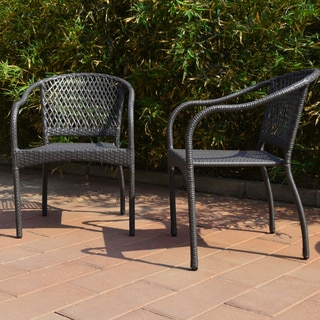 Adeco Patio Furniture Set Grey Wicker Patio Chair Set - Chairs Only