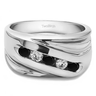 Men's 10k Gold Wedding Fashion Ring with 0.5 Cts. Black And White Cubic Zirconia