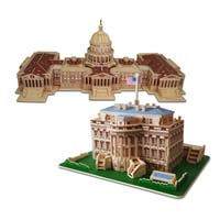 Puzzled Inc Wooden The White House and US Capitol 3D Puzzle Construction Kit