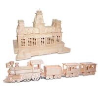 Puzzled Train and Train Station Wooden 3D Puzzle Construction Kit