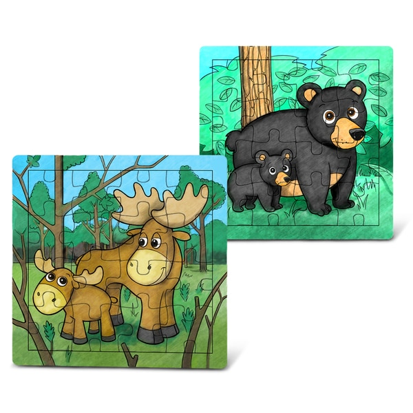 Puzzled Moose and Black Bear Wooden Jigsaw Puzzle
