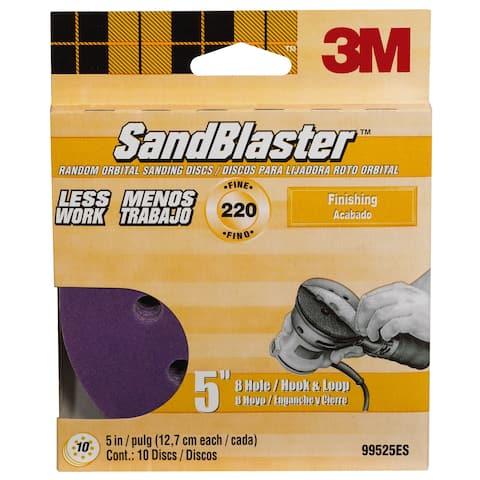 "3M 99525ES 5"" 220 Grit 8 Hole Hook & Loop SandBlaster Sanding Disc"