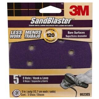 "3M 9523ES-30-B 5"" 120 Grit 8 HoleHook & Loop SandBlaster Sanding Disc"