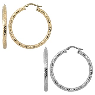 Fremada Italian 14k Gold 3x30-mm Diamond-cut Large Round Hoop Earrings (yellow gold or white gold)