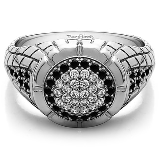 Men's Sterling Silver High-polish Wedding Fashion Ring with 0.54-carat Black And White Cubic Zirconia Stones