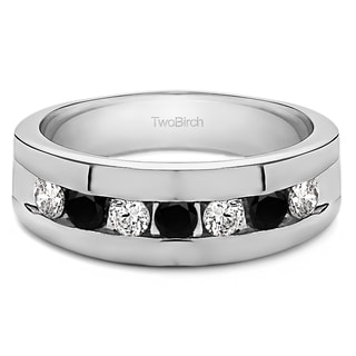 10k Men's Gold and 0.74-carat Black and White Cubic Zirconia Fashion Wedding Ring