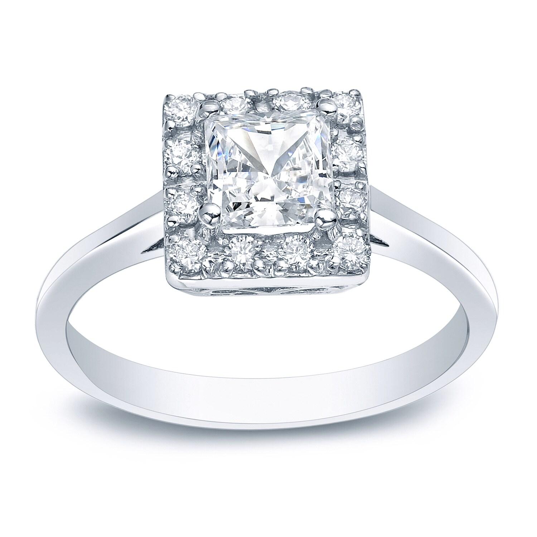 Auriya Platinum 1/2ct TDW Princess-Cut Diamond Halo Engag...