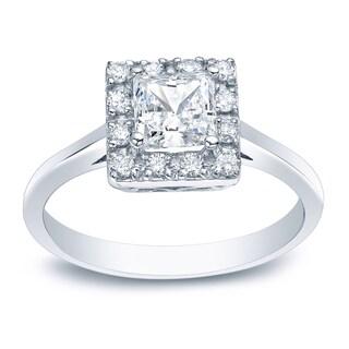 Auriya Platinum 1/2ct TDW Princess-Cut Diamond Halo Engagement Ring
