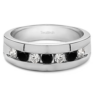 TwoBirch Men's Sterling Silver 0.74-carat Black and White Cubic Zirconia Wedding Ring