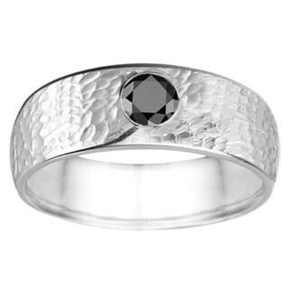 TwoBirch Men's 14k Gold 0.25-carat Black Cubic Zirconia Fashion Wedding Ring