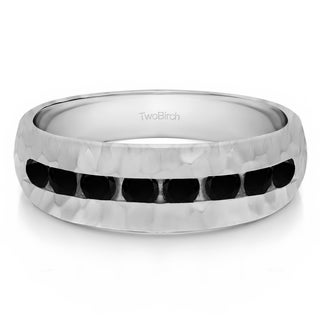TwoBirch Sterling Silver with Black Cubic Zirconia (0.52 Ct) Men's Wedding Fashion Ring