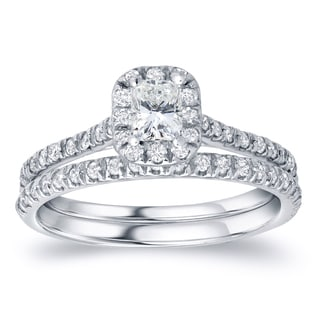 Auriya Platinum 1ct TDW Radiant Cut Diamond Bridal Ring Set (H-I, SI1-SI2)