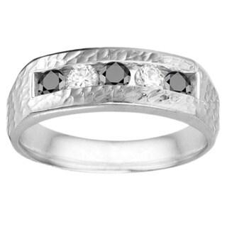TwoBirch Men's 10k Gold High-polish Wedding Fashion Ring with 0.75-carat Black And White Cubic Zirconia Stone