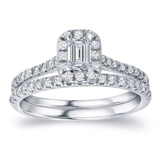 Auriya Platinum 1ct TDW Certified Emerald-cut Diamond Halo Bridal Ring Set