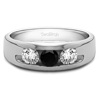 TwoBirch Men's Solid 14k Gold High-polish Wedding Fashion Ring with 0.33-carat Black And White Cubic Zirconia