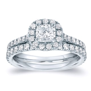 Auriya Platinum 1ct TDW Certified Cushion Diamond Halo Bridal Ring Set