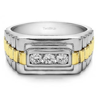 Sterling Silver Men's Wedding Fashion Ring with Cubic Zirconia (0.3 Cts.)
