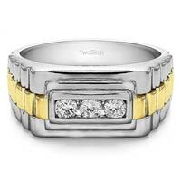 TwoBirch Sterling Silver Men's Wedding Fashion Ring with Cubic Zirconia (0.3 Cts.)