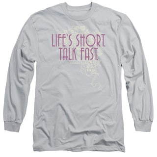 Gilmore Girls/Lifes Short Long Sleeve Adult T-Shirt 18/1 in Silver