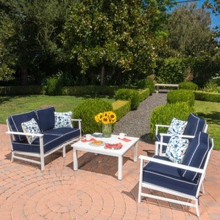 Samana Outdoor 4-piece Aluminum Chat Set with Cushions by Christopher Knight Home