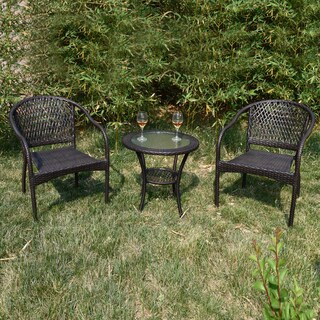 Adeco Brown Simple Wicker Patio Furniture set - Chairs Only