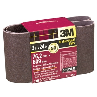 "3M 9273NA-2 2 Pack 3"" X 24"" Medium Power Sanding Belts"