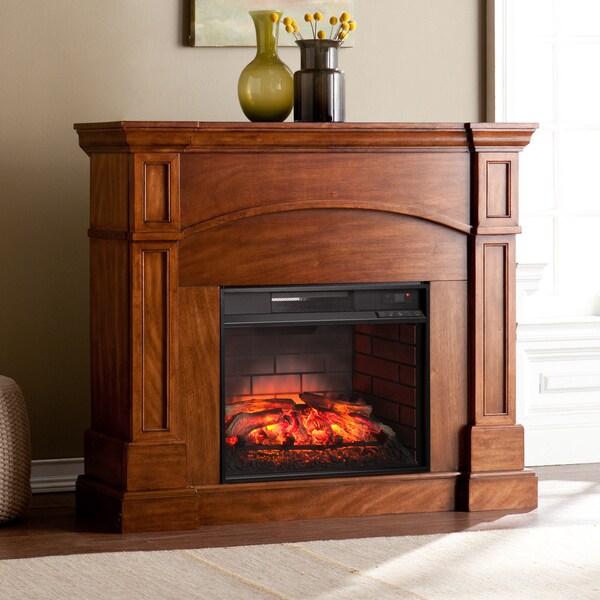 Harper Blvd Hawkins Oak Saddle Corner Convertible Infrared Electric Fireplace