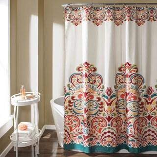 lush decor clara turquoise and orange damask polyester shower curtain