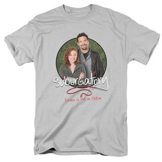 Suburgatory/Father & Daughter Short Sleeve Adult T-Shirt 18/1 in Silver