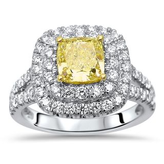 Noori 18k Gold 1 4/5 CT TDW GIA Certified Canary Yellow Cushion Diamond Engagement Ring