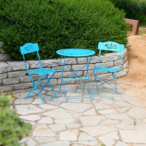 Alpine Corporation Blue 3-Piece Outdoor Floral Bistro Set