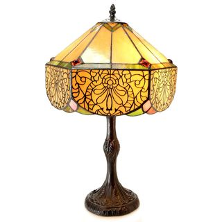 Warehouse of Tiffany Aurora Multicolored Glass/Resin 21-inch 2-light Roman Stained-glass Table Lamp