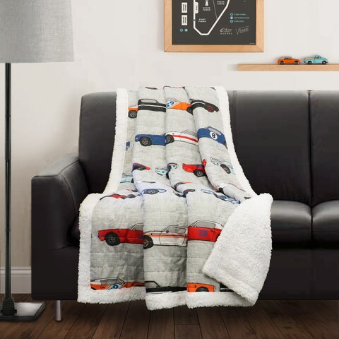 Lush Decor Race Cars Sherpa Throw