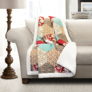 Lush Decor Polyester Grace Patchwork Sherpa Throw
