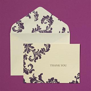 Brides Purple/Ivory Fold-over Thank You Cards and Envelopes (Case of 40)