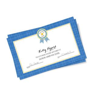 Cardstock Blue Plaid-border 8-inch x 5-inch Excellence Certificates (Pack of 10)