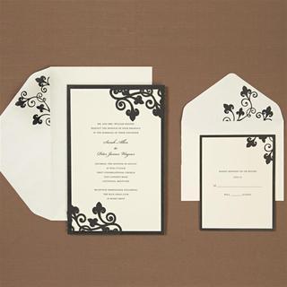 Brides 40-count Black Border Ivory Laser Corner Invitations Kit
