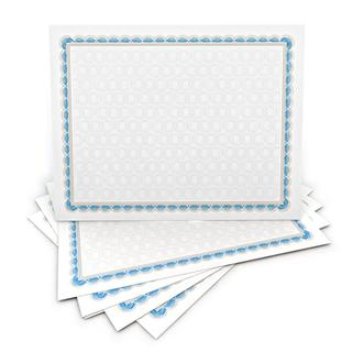 Blue and White 8.5-inch x 11-inch 100-count Border Pattern Certificates