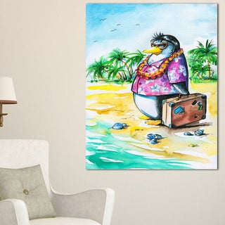 Designart - Penguin Enjoying Holidays on Beach - Cartoon Animal Print