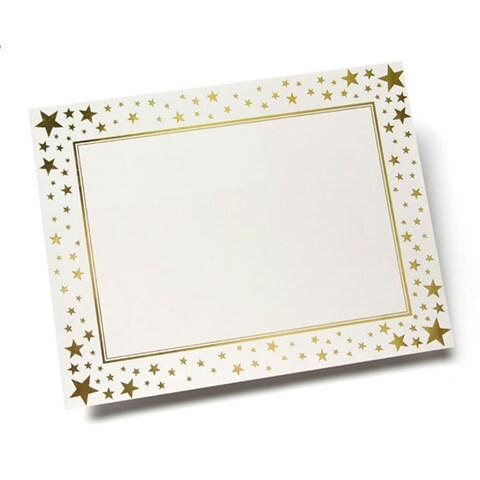 White Paper Gold Foil Stars Print-at-Home Blank Certificates (15 Count)