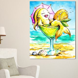 Designart - Gold Fish Enjoying Holidays on Beach - Cartoon Animal Print