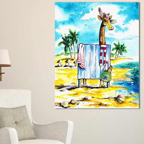 Designart - Giraffe in Dressing Room on Beach - Cartoon Animal Print