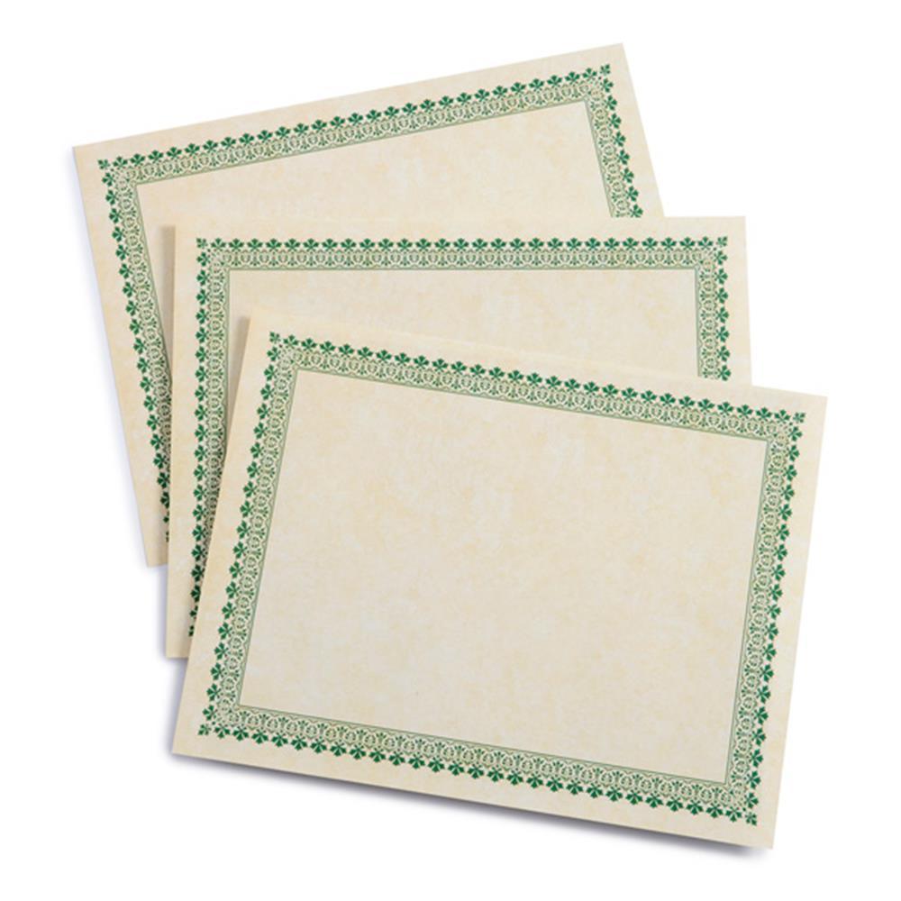 Gartner Green Border Paper Certificates (100 Count) (Green)