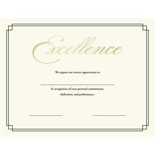 Off White Printable 'Certificate of Excellence' Stationery (Pack of 12)